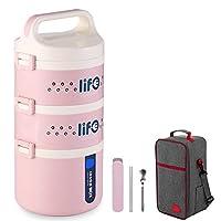 保温弁当箱 お弁当 ランチボックス 多層 保温食箱桶 ステンレスランチジャー 食事箱 お弁当袋付き 食器付き 学校 ピクニックキャンプ (Color : Pink, Size : 3 layer)