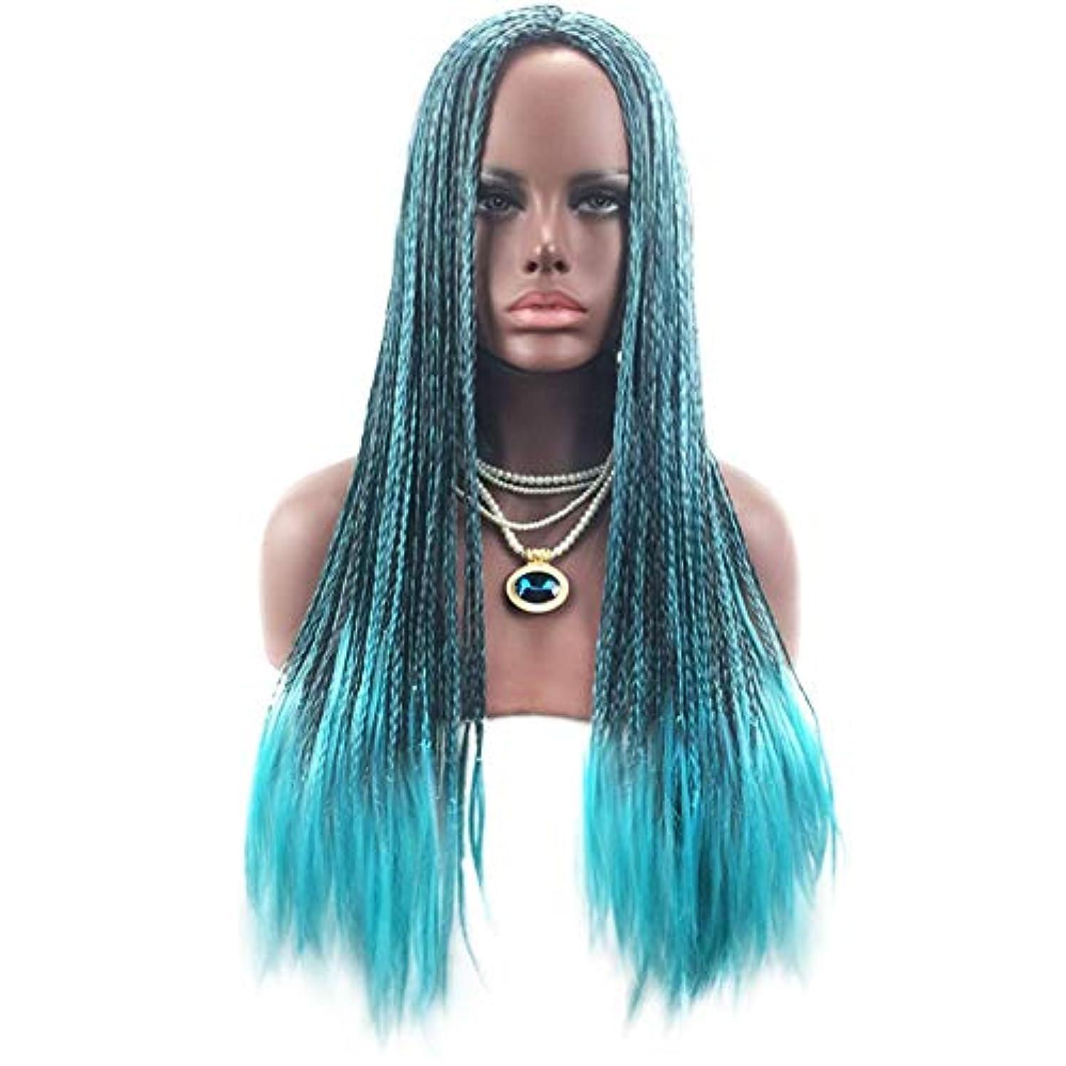 酸化物希少性キラウエア山コスプレ衣装や日常生活のための65cm青と黒の2色の段階的なコスプレアニメウィッグドレッドロックロングマット高温シルク人工毛段階的な三つ編み