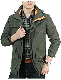Sodossny-JP メンズミリタリースタンドカラープラスサイズジャケットウインドブレーカーアウトドアコート