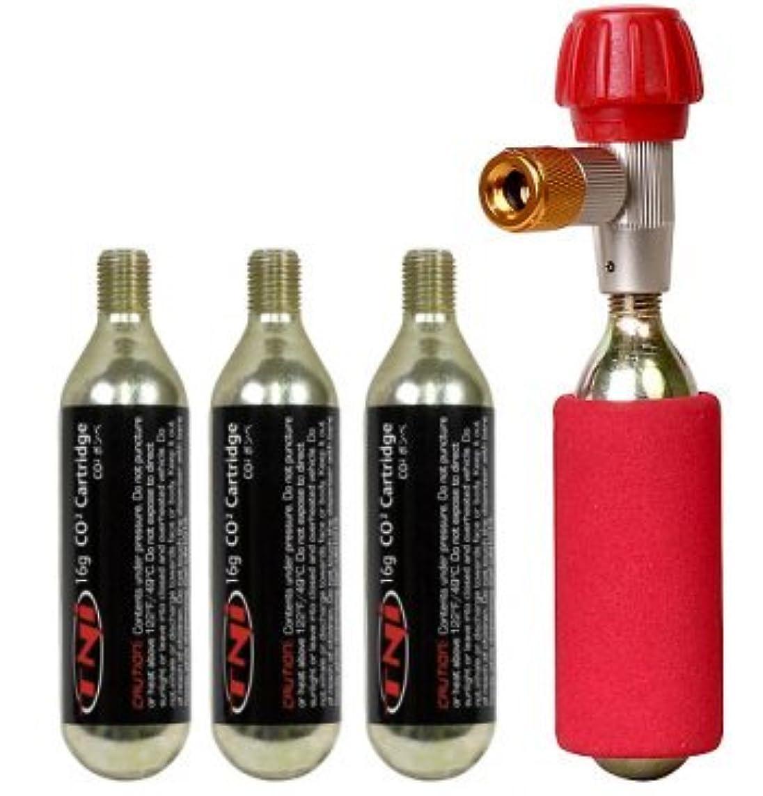 規制する奴隷レジデンスTNI CO2 インフレーター ボンベセット エアバルブ 米式 仏式兼用 CO2ボンベ16g×4本