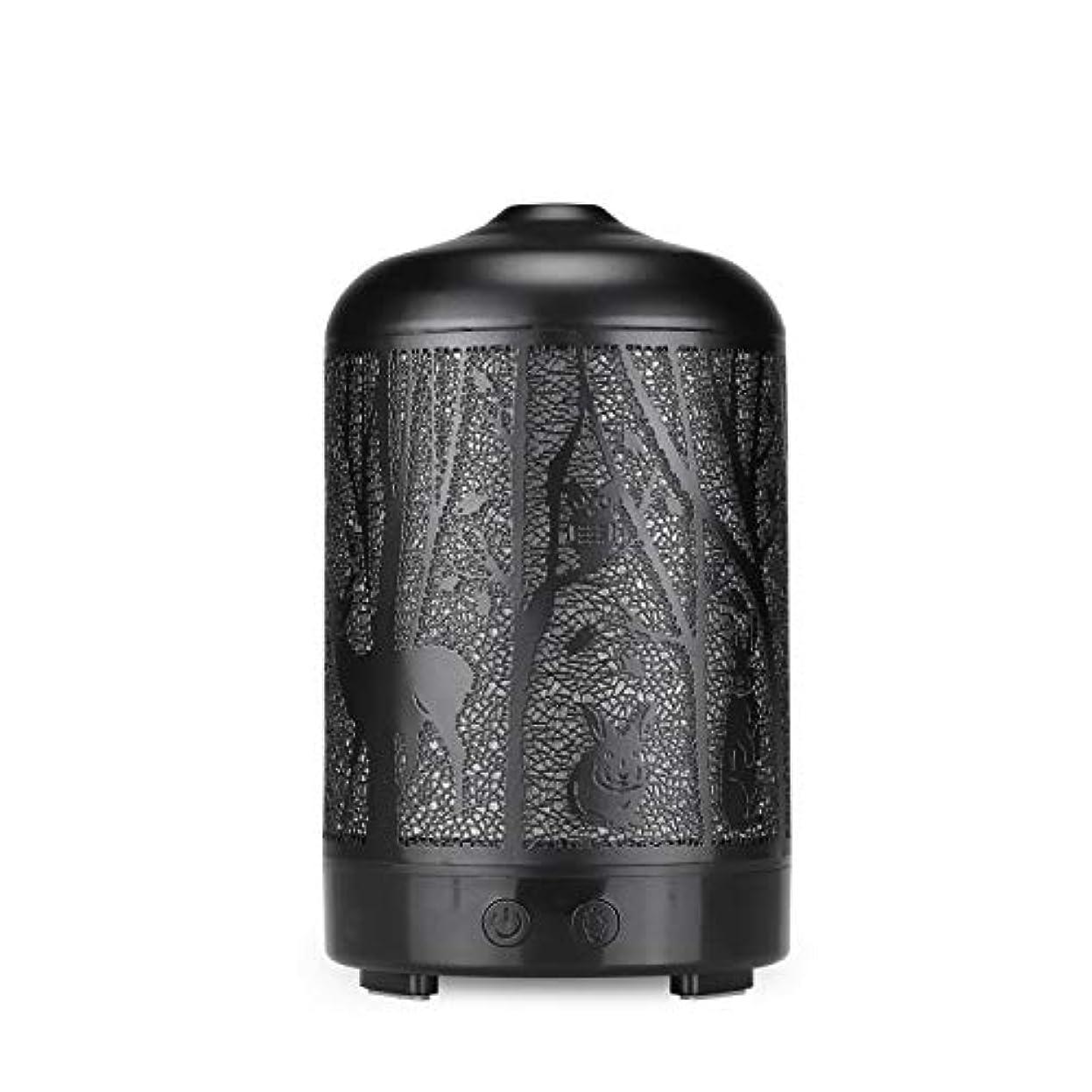 楽な机リテラシーエッセンシャルオイルディフューザー、100 ml超音波金属ディアーアロマセラピー香り油拡散気化器加湿器