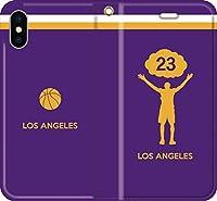 バスケ iPhone Xperia Galaxy Android シルエット スマホケース 手帳型 カバー(フルカラー/アウェイ/ロサンゼルス:23番_A) 11 iPhone XS Max