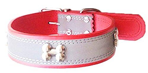 大型犬 中型犬 小型犬 用 サイズも色も選べる 夜間の 散歩 に便利な 反射 テープ付き おしゃれで かわいい 首輪 (レッド, 【2.0cm】Type)