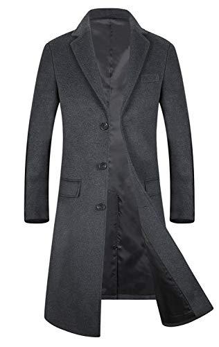メンズ コート ウール ロング 膝下 アウター 無地 暖かい 秋冬春 チェスターコート ジャケット 紳士服 ビジネス 通勤コート 1801 グレー JP S