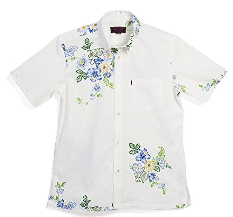汚染アジア助言するMAJUN (マジュン) かりゆしウェア アロハシャツ かりゆし 結婚式 メンズ 半袖シャツ ボタンダウン エンブロイダリーガーデン ホワイト×ブルー S