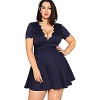 Floerns Women's Plus Size V Neck A Line Mini Dress
