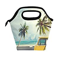 Wozo Vintage CarサーフボードBeach Ocean Palm Tree Insulated LunchバッグトートバッグCooler Lunchboxハンドバッグfor Outdoors School Girl Boy