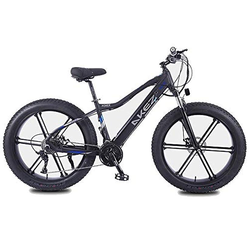 チーター心から可塑性アダルトファットタイヤ電気マウンテンバイク、350W雪バイク、ポータブル10Ahのリチウムバッテリービーチクルーザー自転車、軽量アルミ合金フレーム、26インチホイール,黒