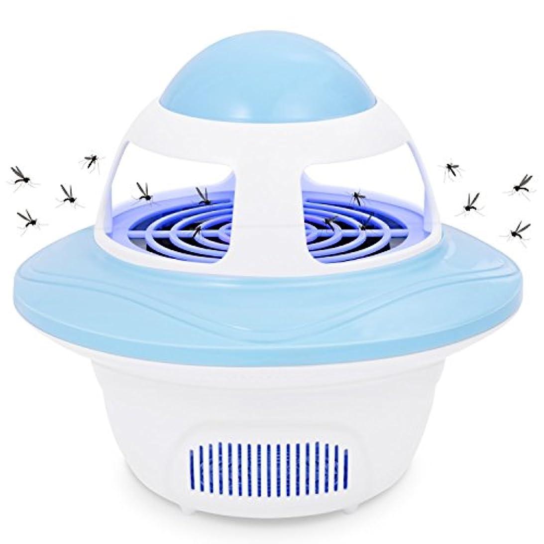付添人懺悔追記バグジャッパー電子屋内昆虫キラーUSBパワードLEDモスキートキャッチャーキラートラップファン16.5 * 15センチメートル,Blue