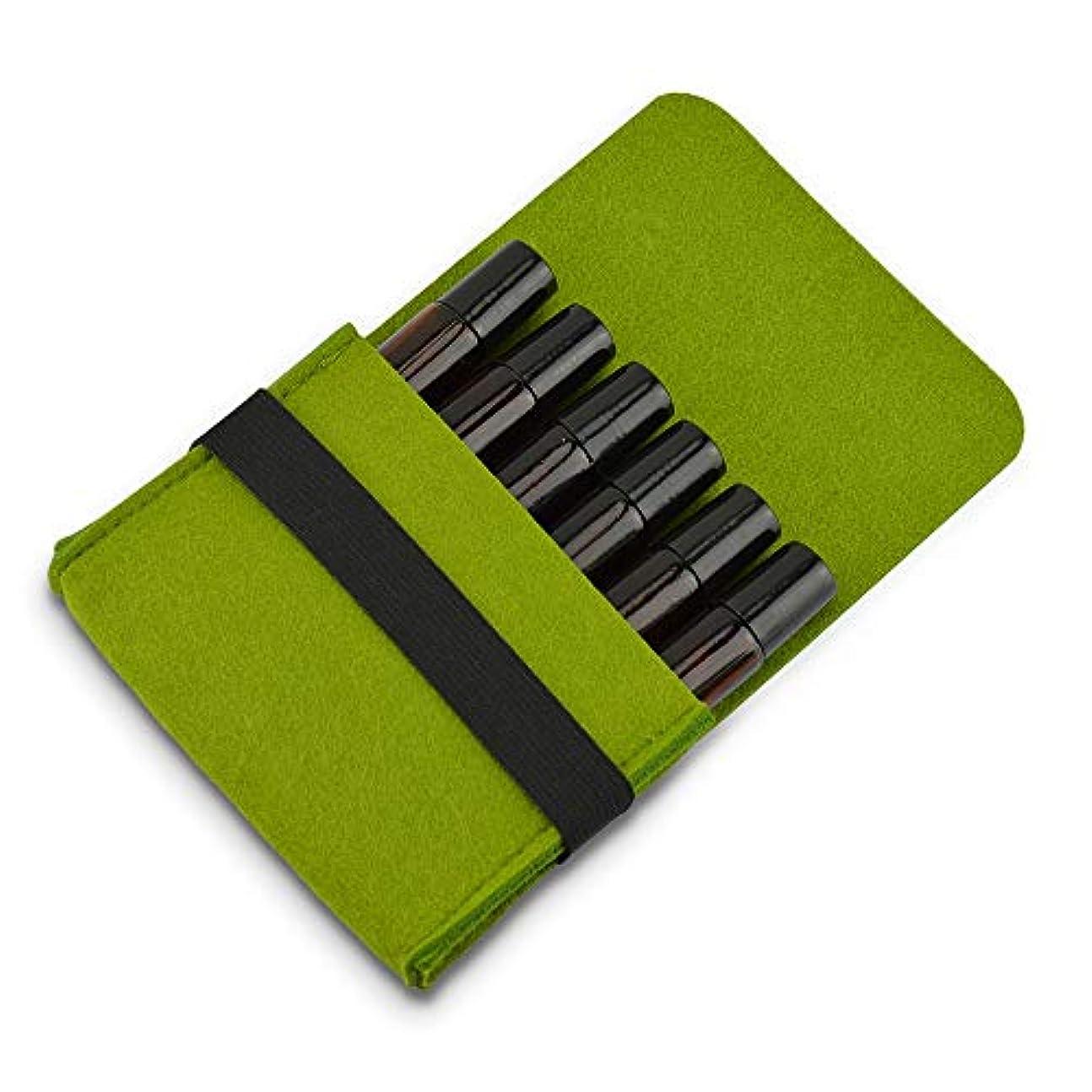 変形扇動するビルマ精油ケース トラベルオーガナイザーストレージポーチ収納袋3色のフェルト6つのボトル10MLエッセンシャルオイル用キャリングケースエッセンシャルオイル 携帯便利 (色 : 緑, サイズ : 13X10X3CM)