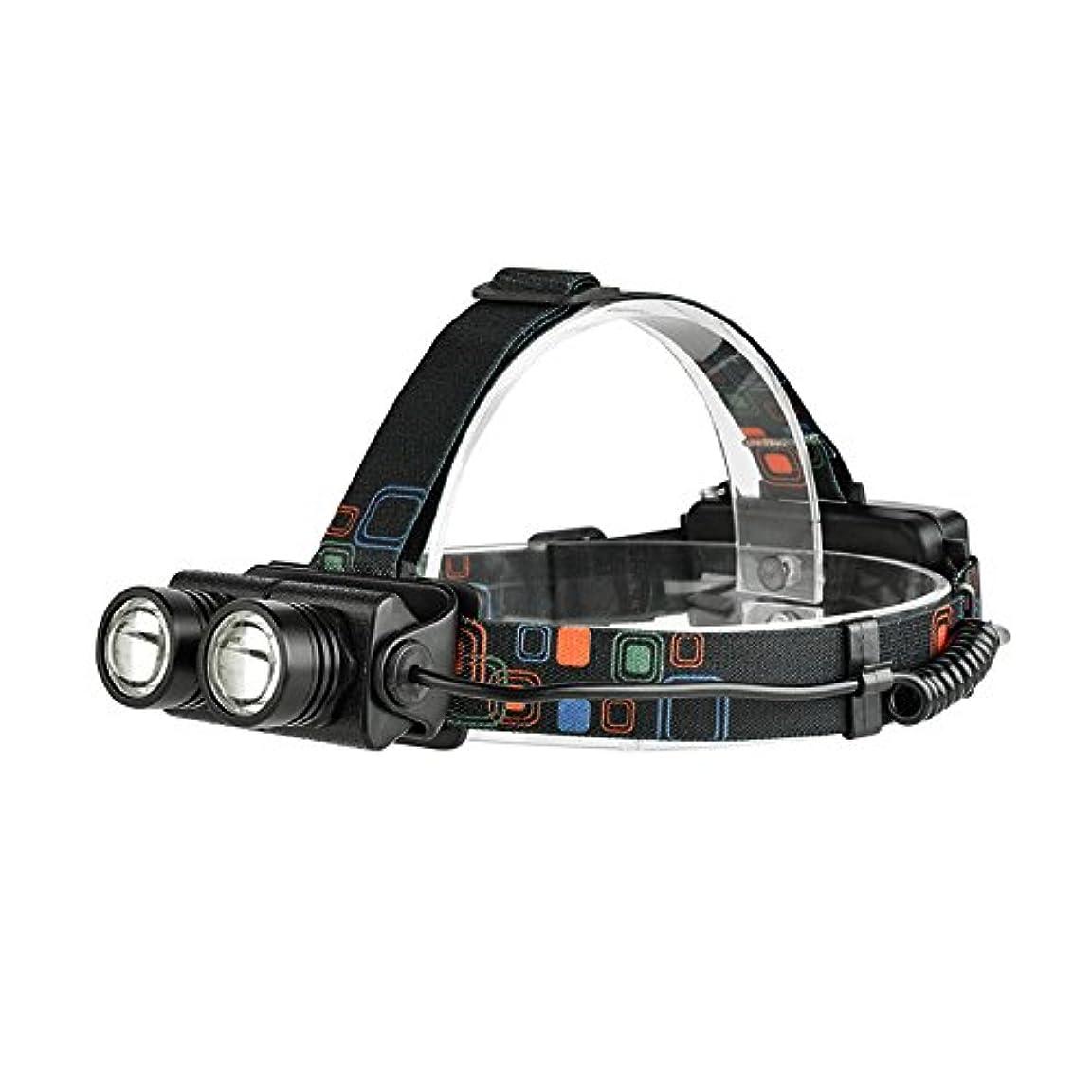 バッジ年次物足りないRaiFu ヘッドランプ 柔軟 ズーム 4モード 明るい 1600LM 20W デュアル-T6 夜間 屋外活動
