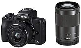 Canon ミラーレス一眼カメラ EOS Kiss M(ブラック)・ダブルズームキット EOSKISSMBK-WZK