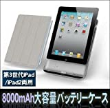 新型iPad(第3世代)・iPad2用 大容量8000mAh バッテリーケース (スマートカバー対応) MiLi Power iBox 2