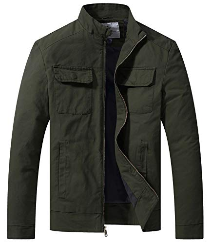 WenVen Men's Fall Casual Army Lightweight Jacket(Army Green,Large)