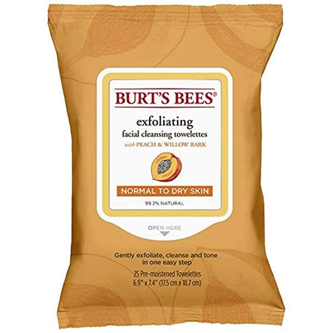 宇宙船校長すごい[Burt's Bees ] バーツビー洗顔ペーパータオルの桃&樹皮のX25 - Burt's Bees Facial Cleansing Towelettes Peach & Bark x25 [並行輸入品]