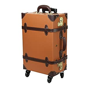 【MOIERG】キャリーバッグ キャリーケース スーツケース 修学旅行 3年保証 軽量 (M,キャメル 81-55036-72)