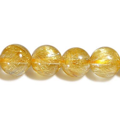 新宿銀の蔵 AAAAAAグレード 金針ルチルクォーツ 8mm天然石 ビーズ (丸玉) 2玉セットBタイプ-針の量多め ハンドメイド 素材 材料