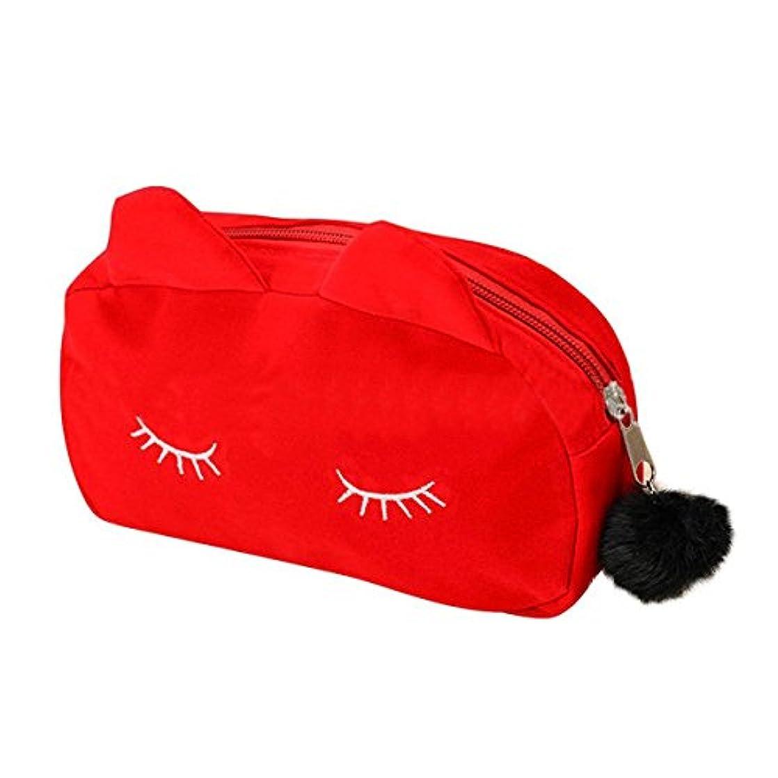 猫 化粧ポーチ バニティベロア ポンポン付き 赤