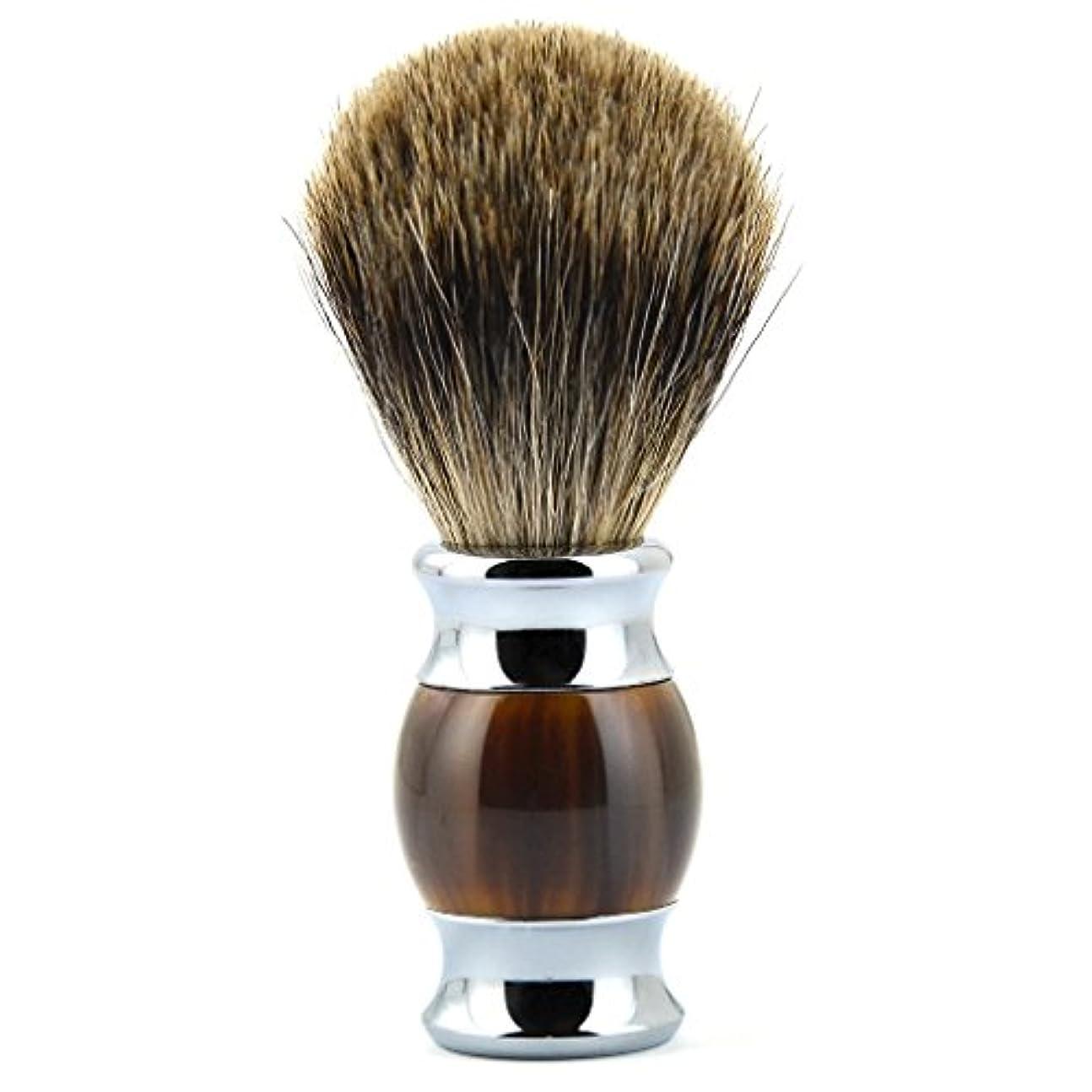 TopFires ひげブラシ シェービング ブラシ シェービング用ブラシ メンズ 100% アナグマ毛 理容 洗顔 髭剃り 泡立ち 【品質保証】