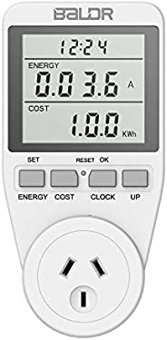 Electricity Usage Monitor AU Plug Power Meter Sockets with Digital LCD Display,Overload Protection and 7 Displ