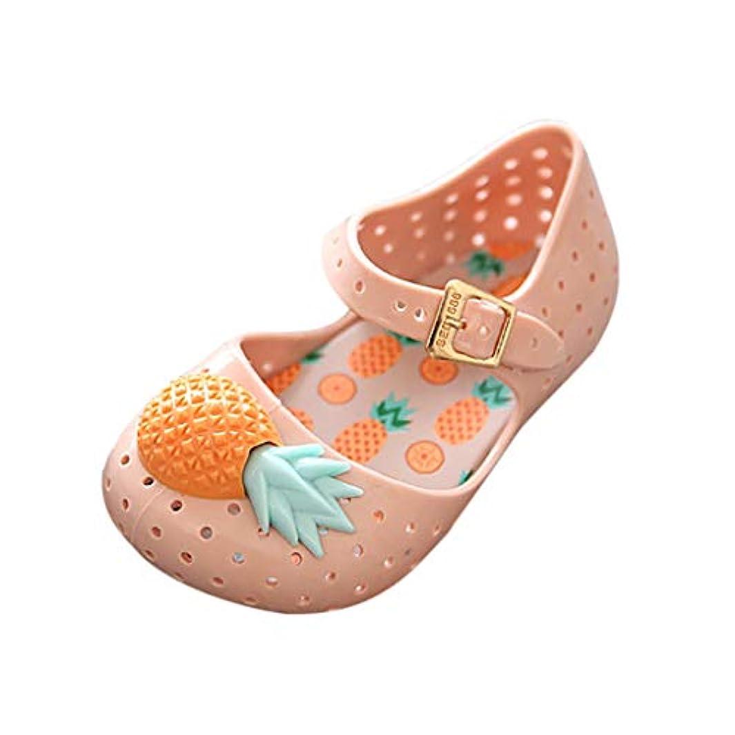 プリーツ純粋な水平[BAOMABA] サンダル 靴 子供靴 ベビーシューズ 滑り止め 柔らかい 防水 ボタン パイナップル装飾的 ソフトボトムサンダル 春 夏