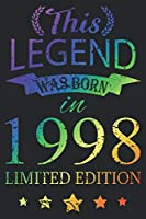 This Legend Was Born In 1998: Blank Lined Journal, Scratched Rainbow, Happy 21st Birthday Notebook, Logbook, Diary, Perfect Gift For 21 Year Old Boys And Girls