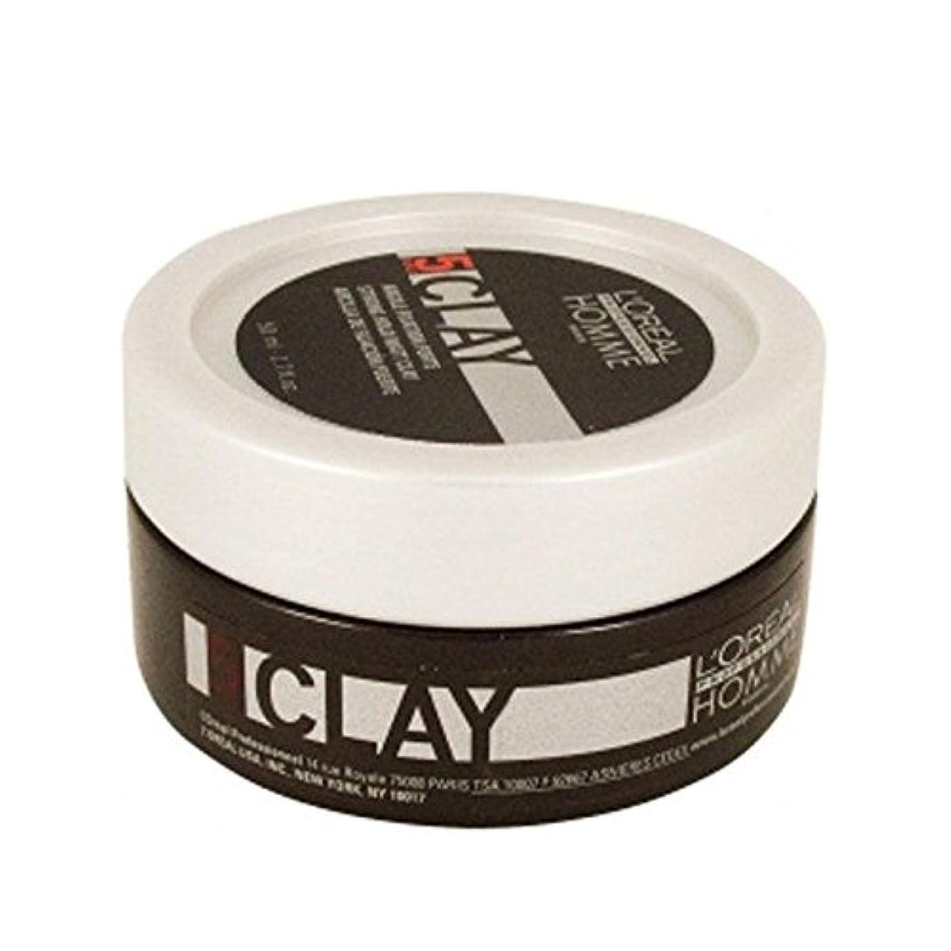 花婿制限するメダルロレアルプロフェッショナルのオム粘土 - 強力なホールド粘土(50ミリリットル) x2 - L'Or?al Professionnel Homme Clay ? Strong Hold Clay (50ml) (Pack...