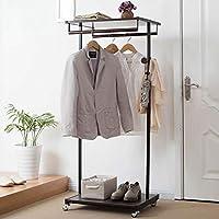 ハンガー - フロアコートラックベッドルーム多機能乾燥ラック多層ストレージシェルフシューズラック -Home Decor (色 : Brown)