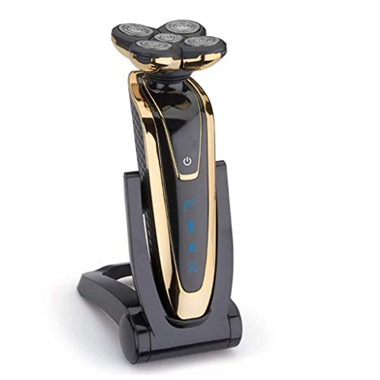 比類なきスロープアマチュアBEIHUAN キット3D浮動ロータリーシェーバーコードレスバリカンあごひげ髪トリマー防水USBの充電式グルーミング男性のための電気かみそり (Color : Gold)