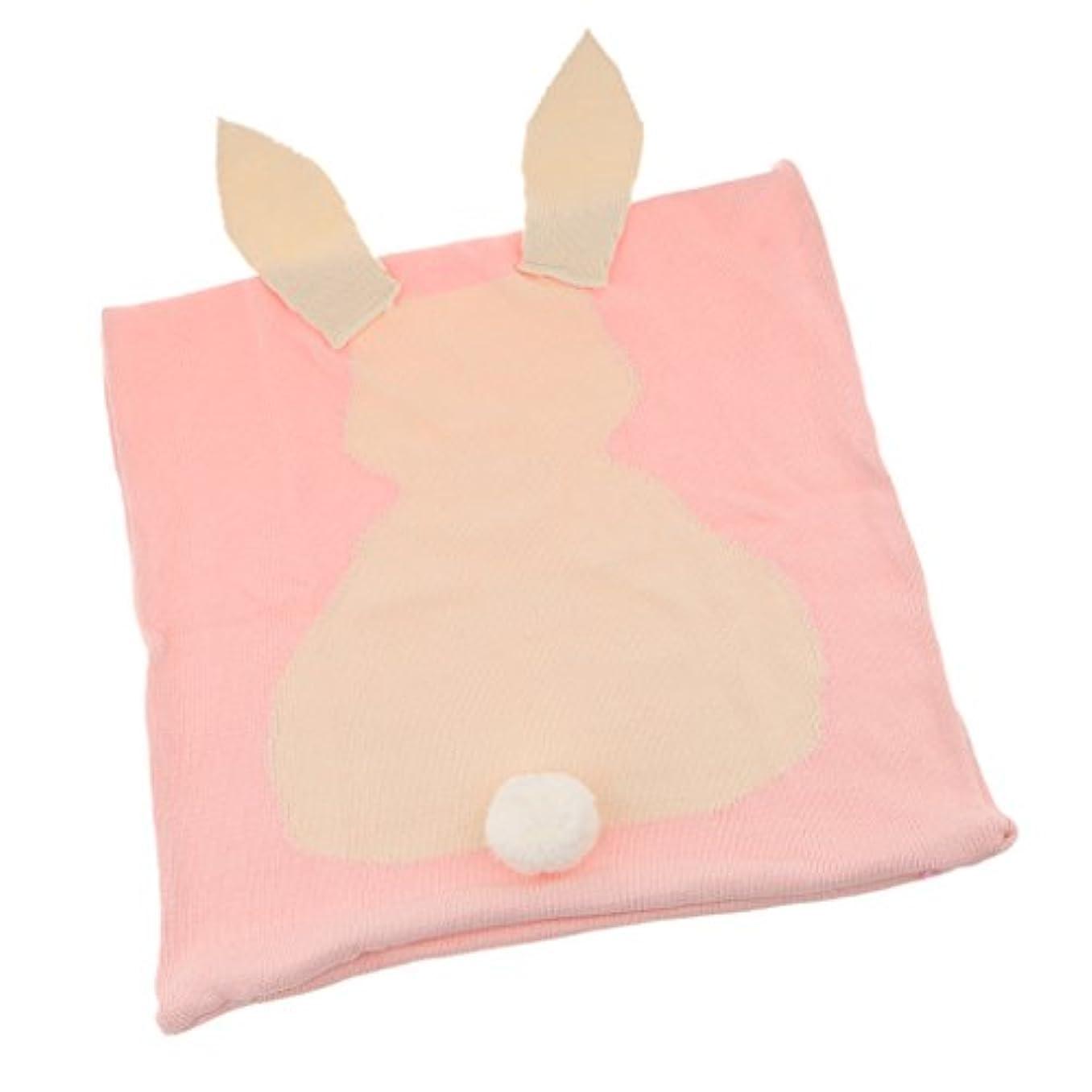 プラスチック落ち着いたハンマー綿 ニット 癒し ウサギ ピローケース ソファ ベッド クッション カバー 枕カバー - ピンク