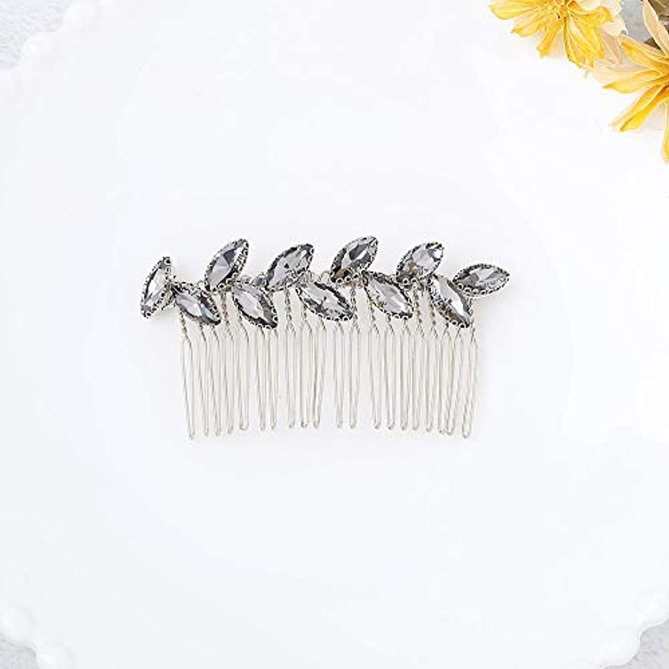 落花生羊規則性Jovono Bride Wedding Hair Comb Bridal Headpieces with Rhinestone for Women and Girls (Silver) [並行輸入品]