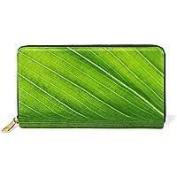 財布 レディース 長財布 大容量 かわいい 葉柄 植物 グリーン おしゃれ きれい ファスナー財布 ウォレット 薄型 本革 型押し 小銭入れ プレゼント用