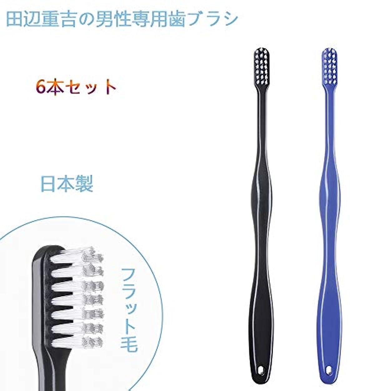 仕方内向きベジタリアン歯ブラシ職人 Artooth ® 田辺重吉の磨きやすい 男性専用 歯ブラシ MEN' S 日本製 耐久性UP 6本セットLT-08(色おまかせ)