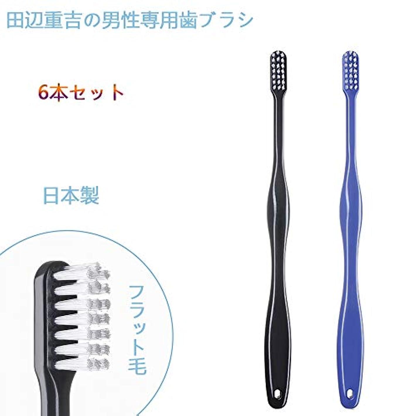 誘発する汚染する汚染する歯ブラシ職人 Artooth ® 田辺重吉の磨きやすい 男性専用 歯ブラシ MEN' S 日本製 耐久性UP 6本セットLT-08(色おまかせ)