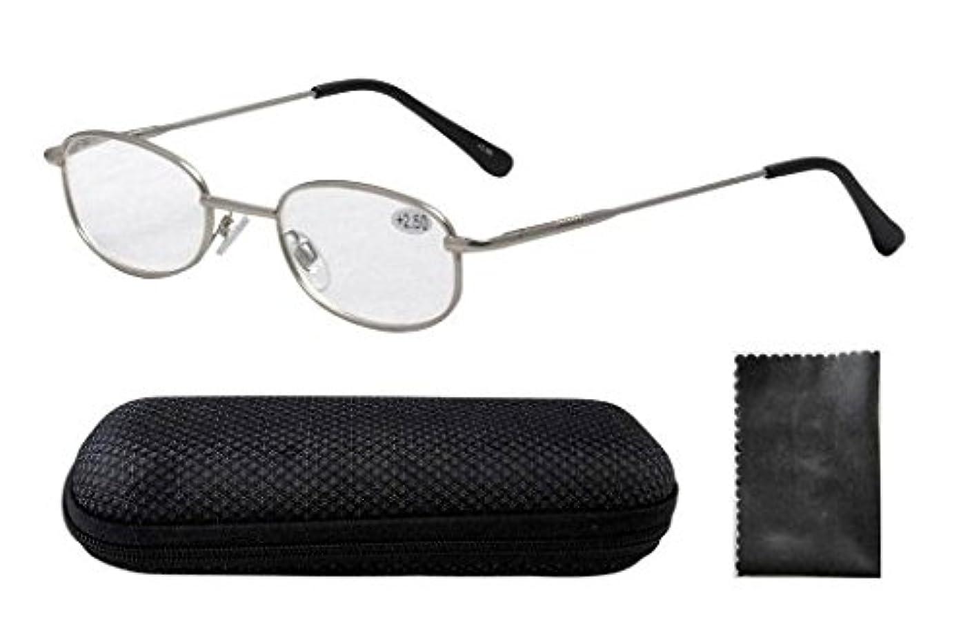 アイキーパー(Eyekepper) メタル フレーム バネ蝶番 テンプル メンズ レディース 男 女 兼用 リーディンググラス シニアグラス 老眼鏡 ケース&クロス付き +1.25 いぶし銀