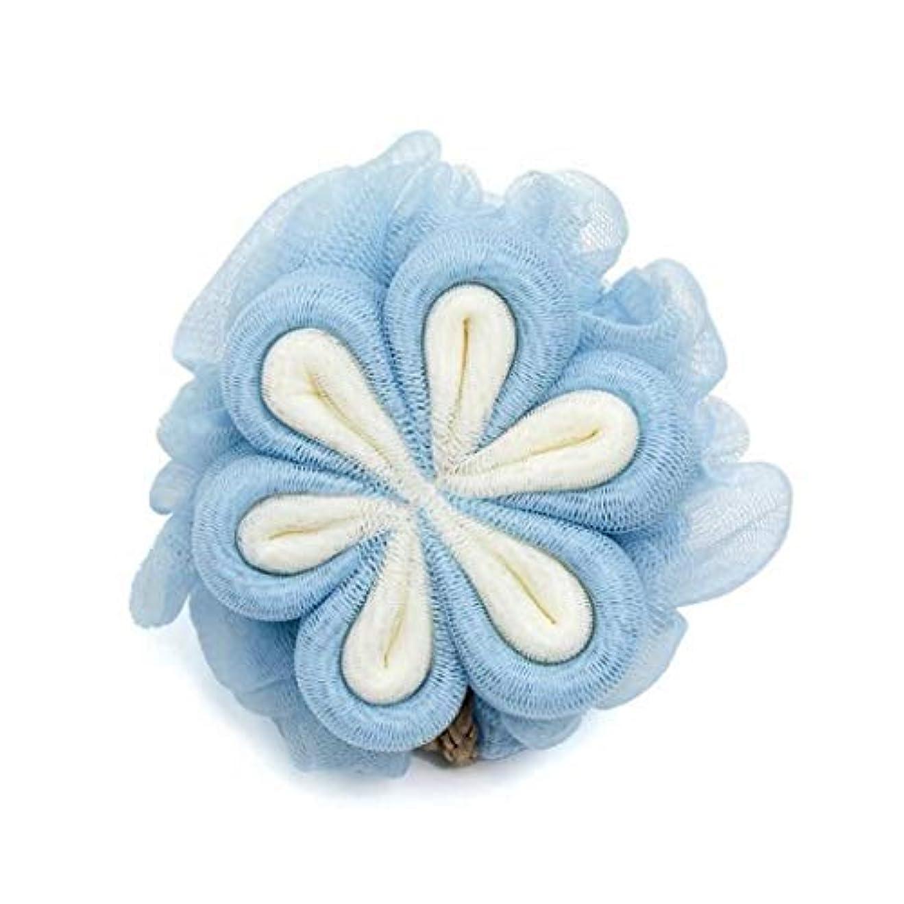 ダムローズ側ボディーウォッシュボール 泡立ちネット ボディーブラシ 背中 マッサージ シャボンボール 角質ケア フラワーボール 花形 (ブルー)
