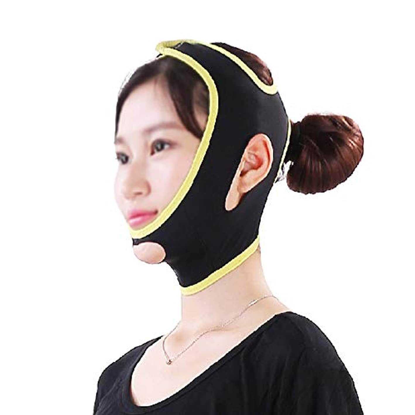 XHLMRMJ 顔と首のリフト、Vフェイスマスクは顔面の輪郭を強調し、咬筋の引き締めあごの超弾性包帯を和らげます (Size : L)