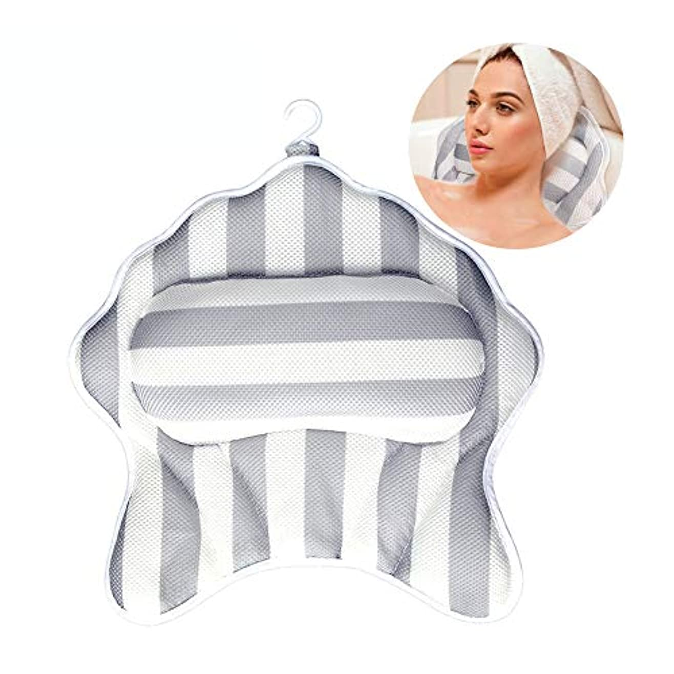 満足認識座標3dメッシュヒトデスパマッサージバスタブ枕浴室枕クッションwith6強い吸引カップは洗濯機で洗えます