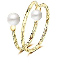 Fancystudio Pearl Open Ring Double Pearl Adjustable Ring for Women Girls Teens