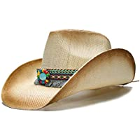 KMJHKVM Fashion Women Straw Cowboy Hat with Punk Leather Band for Lady Dad Western Sombrero Cowgirl Hat Caps (Color : Natural, Size : 58cm)