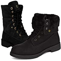 Athlefit Women's Winter Snow Boots Lace Up Fur Lined Fold Combat Waterproof Ankle Boots