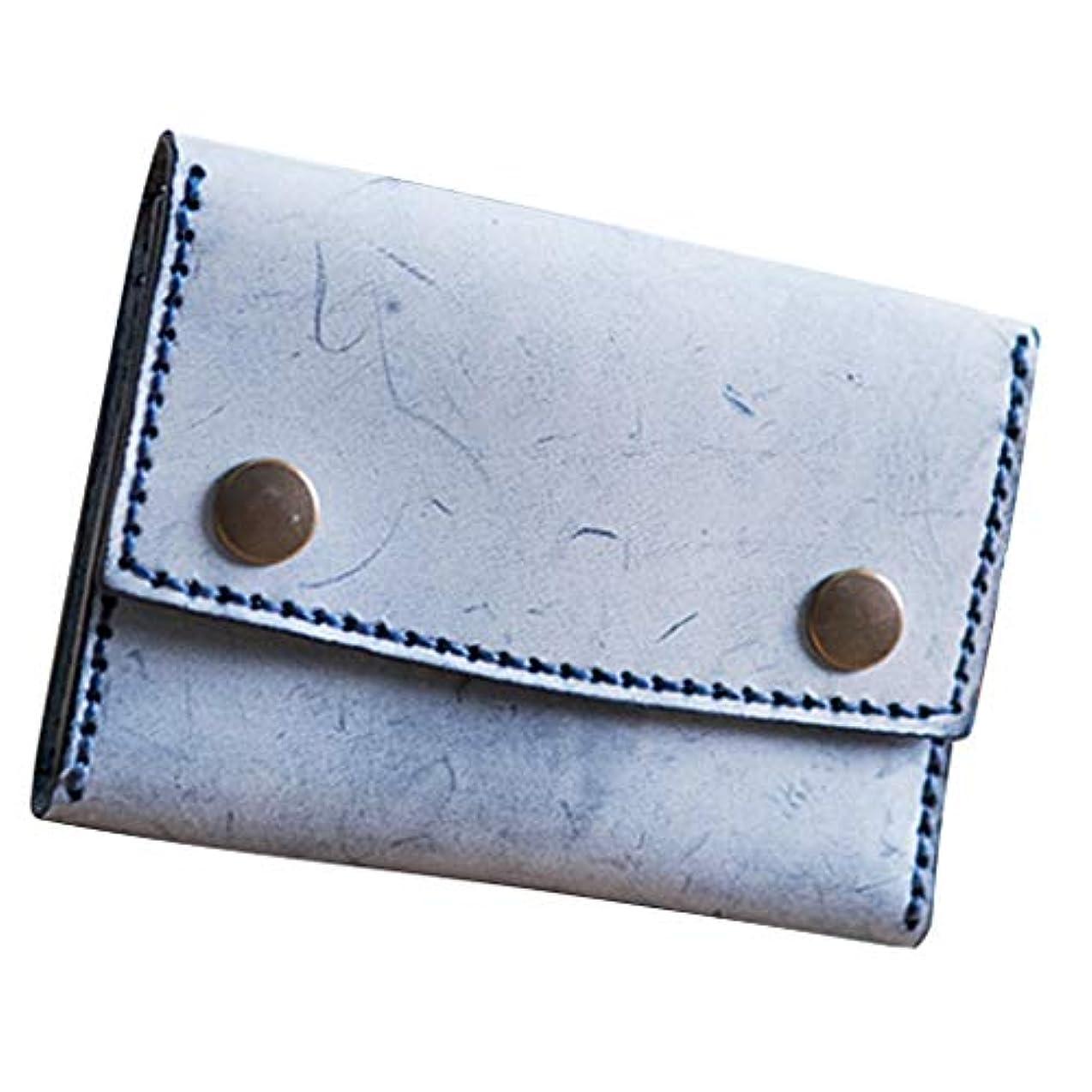 彫刻瞑想するリットルレザークラフトキット 財布製作キット 革 はさみ 縫製クリップ 針 革糸 初心者向け 全5色 - 青