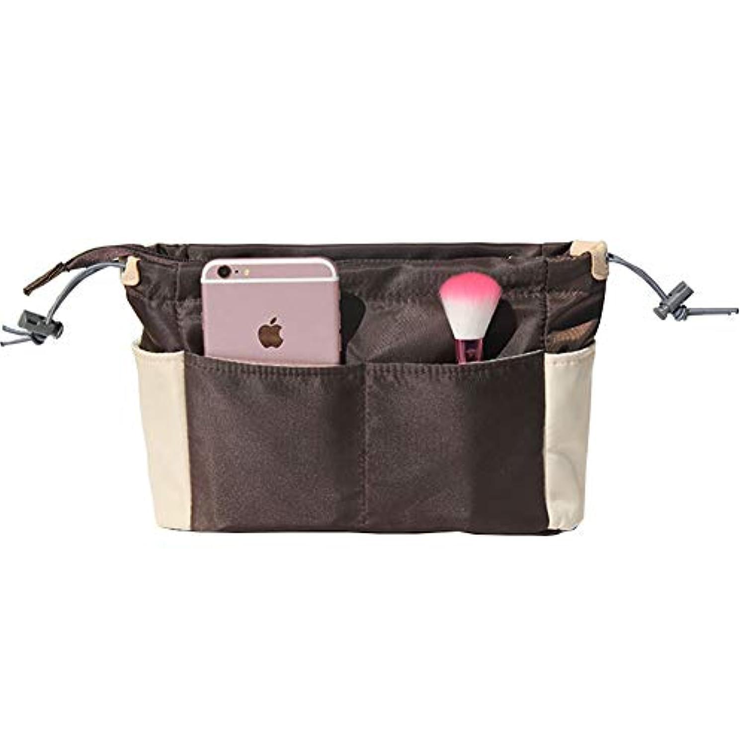 刃評議会恋人HOYOFO インナーバッグ バッグインバッグ 軽量 多機能収納 ファスナー付き 小物入れ 整理整頓 大容量 レディース メンズ コーヒー