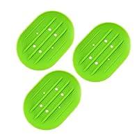 OUNONA ソープディッシュ シリコーン製  石鹸トレイ 水切り 3個セット(グリーン)