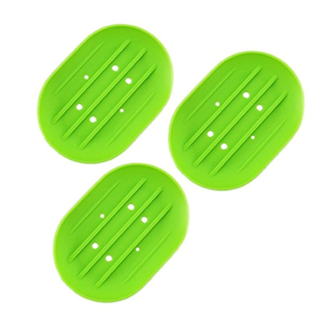 重要な役割を果たす、中心的な手段となる先祖簡潔なBESTOMZ ソープディッシュソープホルダー, 石鹸トレイ乾燥石鹸バー 浴室用キッチン用3連グリーン用