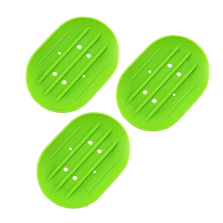 サスティーンちらつきネーピアBESTOMZ ソープディッシュソープホルダー, 石鹸トレイ乾燥石鹸バー 浴室用キッチン用3連グリーン用