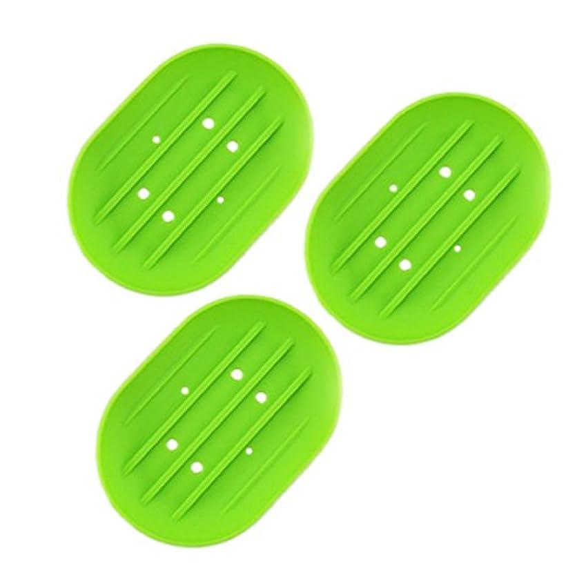 分子衝撃語BESTOMZ ソープディッシュソープホルダー, 石鹸トレイ乾燥石鹸バー 浴室用キッチン用3連グリーン用