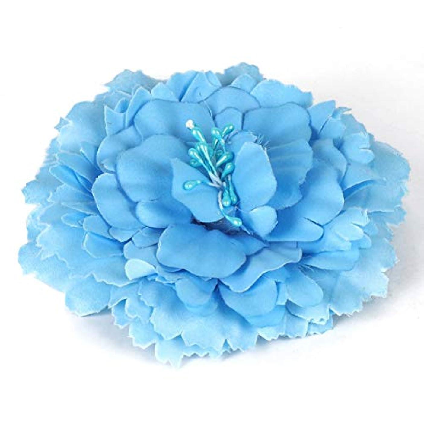 宮殿ミルク同時女性のための新しいファッションエレガントなローズフラワーヘアクリップブローチヘアピンヘアガールズヘアドレスデコレーションウェディングアクセサリー-ブルー