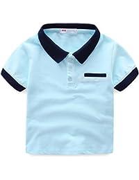 LittleSpring夏 ボーイズ 男の子 四色展開 スクール 半袖ポロシャツ 無地 襟付き 半袖トップス 綿 半袖tシャツ