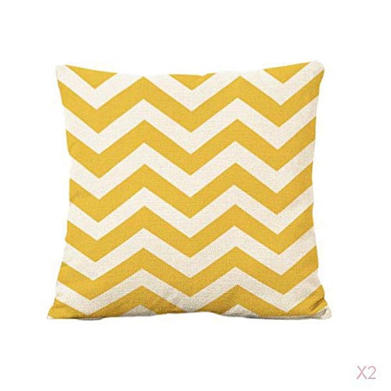宿題例示する大胆な黄色のホームオフィスのソファの装飾波ストライプリネン枕カバークッションカバー
